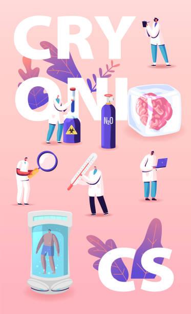 illustrazioni stock, clip art, cartoni animati e icone di tendenza di concetto moderno di tecnologia cryonics. i personaggi scienziati sviluppano attrezzature futuristiche per il letargo, fotocamera criogenica con dentro umano addormentato. poster banner flyer. illustrazione vettoriale persone dei cartoni animati - criobiologia