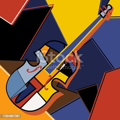 Modern cubist style handmade drawing of cello. Jazz music in retro geometric abstraction style. Classical music instrument. Classical music instrument theme. Vector art design illustration