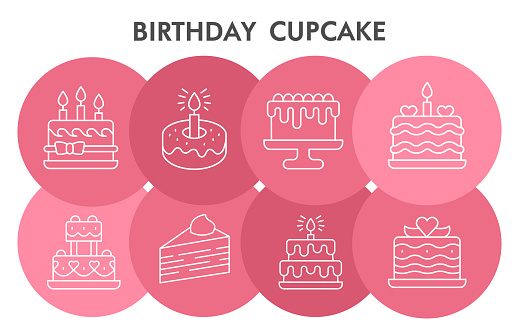 Modern cupcake Infographic design template with icons. Wedding and birthday cake desserts Infographic visualization in bubble design on white background. Creative vector illustration for infographic.