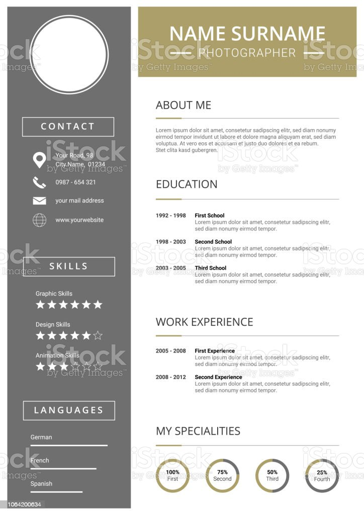 modern curriculum vitae template with icons stock vector art more