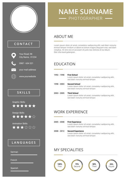 modern curriculum vitae template with icons - resume templates stock illustrations