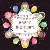Modern cute and funny cartoon russian dolls birthday greeting card.
