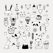 Modern cute animals and nature elemets black and white hand drawn vector illustrations. Stickers for birthday card, party invitations and web design