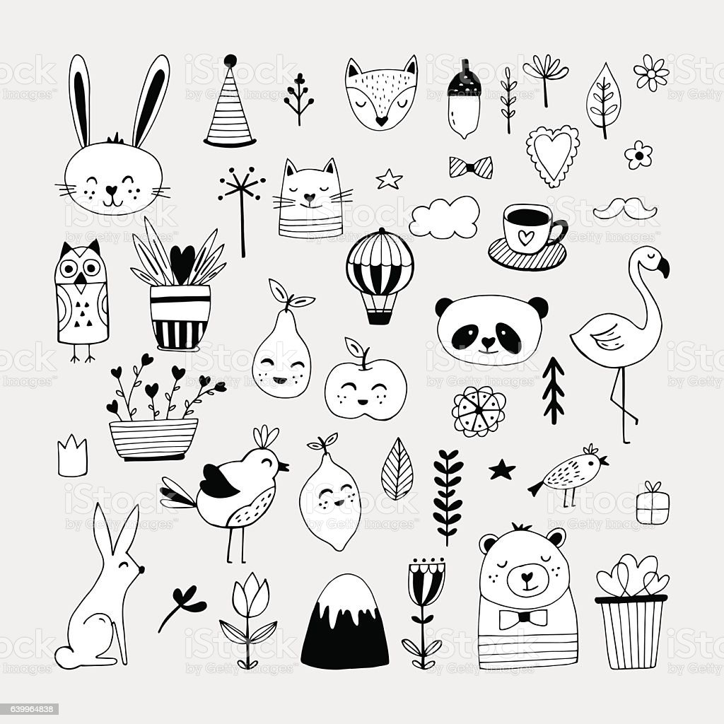 Modern cute animals and nature elemets black and white vector art illustration