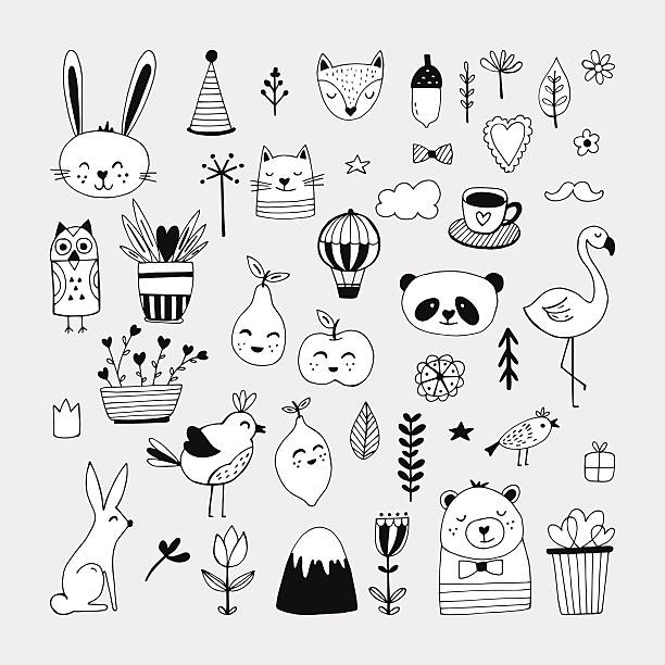 Modern cute animals and nature elemets black and white - ilustración de arte vectorial