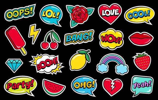 modern cute colorful patch set on black background. fashion patches of cherry, strawberry, watermelon, lips, rose flower, rainbow, hearts, comic bubbles etc. - 20th century stock illustrations