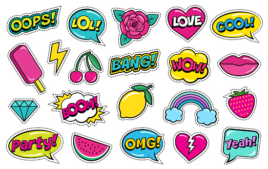 Modern cute colorful patch set on white background. Fashion patches of cherry, strawberry, watermelon, lips, rose flower, rainbow, hearts, comic bubbles etc.