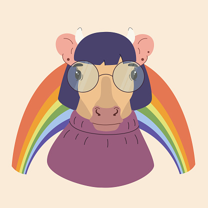 Modern cute cow character with glasses  on a rainbow background.