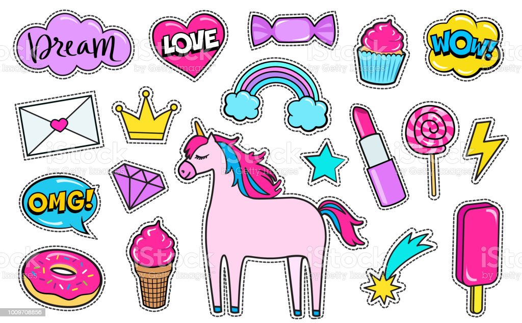 modern cute girly colorful patch set fashion patches of unicorn