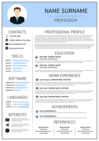 Modern CV layout with infographic. Resume template for man. Minimalistic  curriculum vitae design. Employment vector illustration.