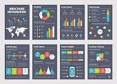 Modern dark business infographic brochure template. Vector illustration.
