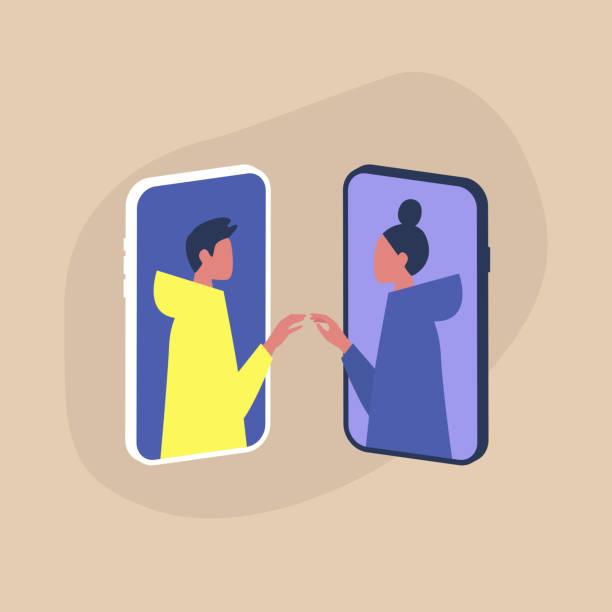 stockillustraties, clipart, cartoons en iconen met moderne dating service, twee personages die elkaars handen aanraken via de smartphoneschermen - daten