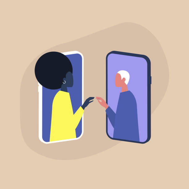 Modern dating service, two cis gender characters touching each other's hands through the smartphone screens Modern dating service, two cis gender characters touching each other's hands through the smartphone screens cisgender stock illustrations