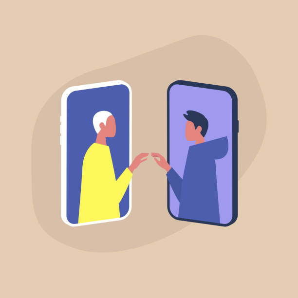 illustrazioni stock, clip art, cartoni animati e icone di tendenza di modern dating service, two homosexual characters touching each other's hands through the smartphone screens - coppia gay