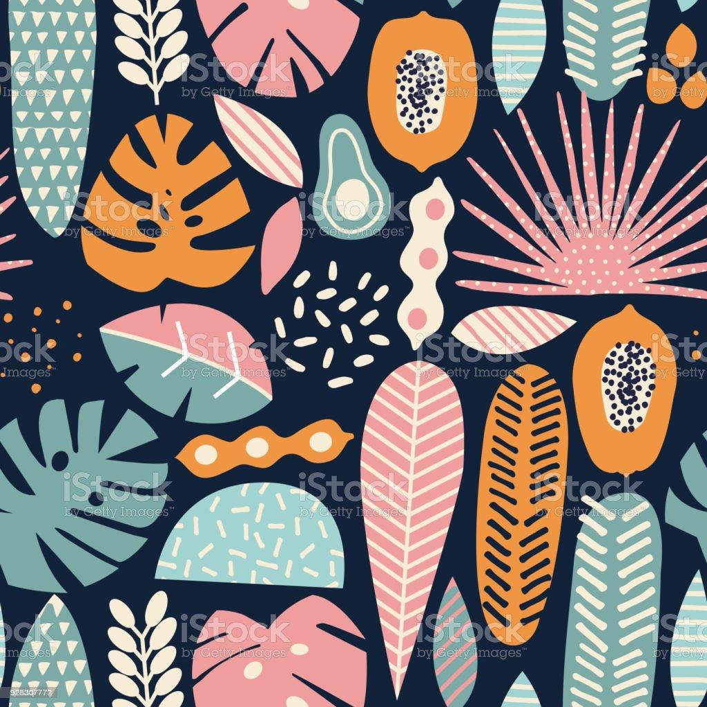 Modern decorative exotic jungle fruits vector art illustration