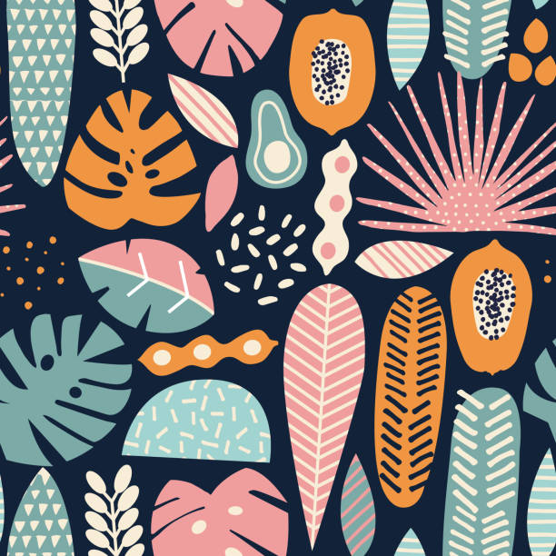 Modern decorative exotic jungle fruits Modern decorative exotic jungle fruits and plants seamless pattern in vector avocado patterns stock illustrations