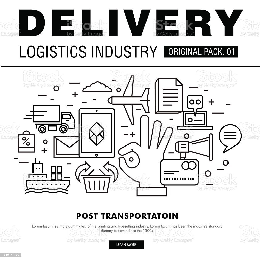 Modern delivery industry pack. vector art illustration