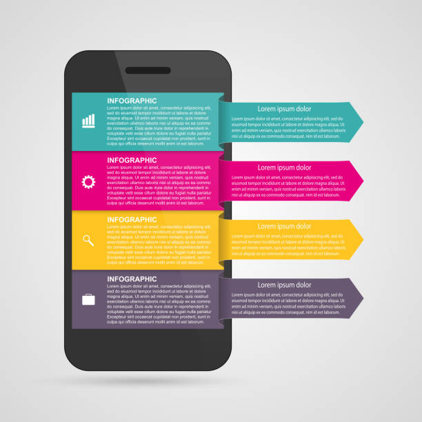 Modern design creative infographic with mobile phone. vector art illustration
