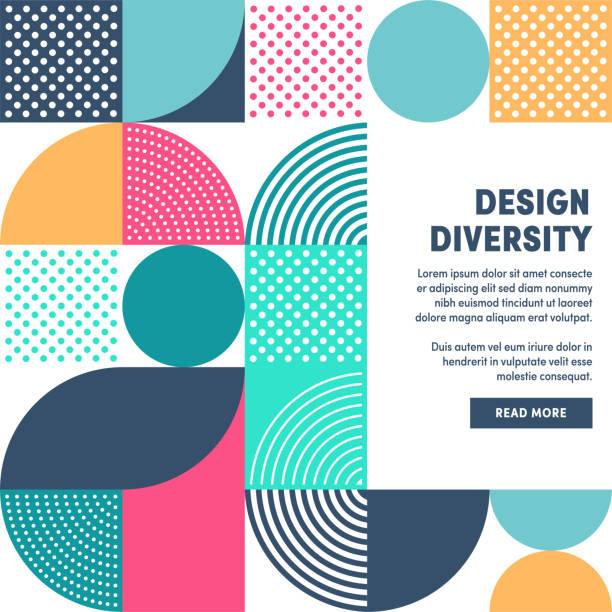 현대 디자인 다양성 프로모션 배너 벡터 디자인 - 개념 stock illustrations