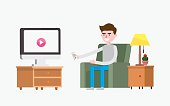 modern design flat character watching tv vector illustration