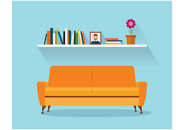 illustrations, cliparts, dessins animés et icônes de modern design interior orange sofa and bookshelves. retro flat style. - canapé