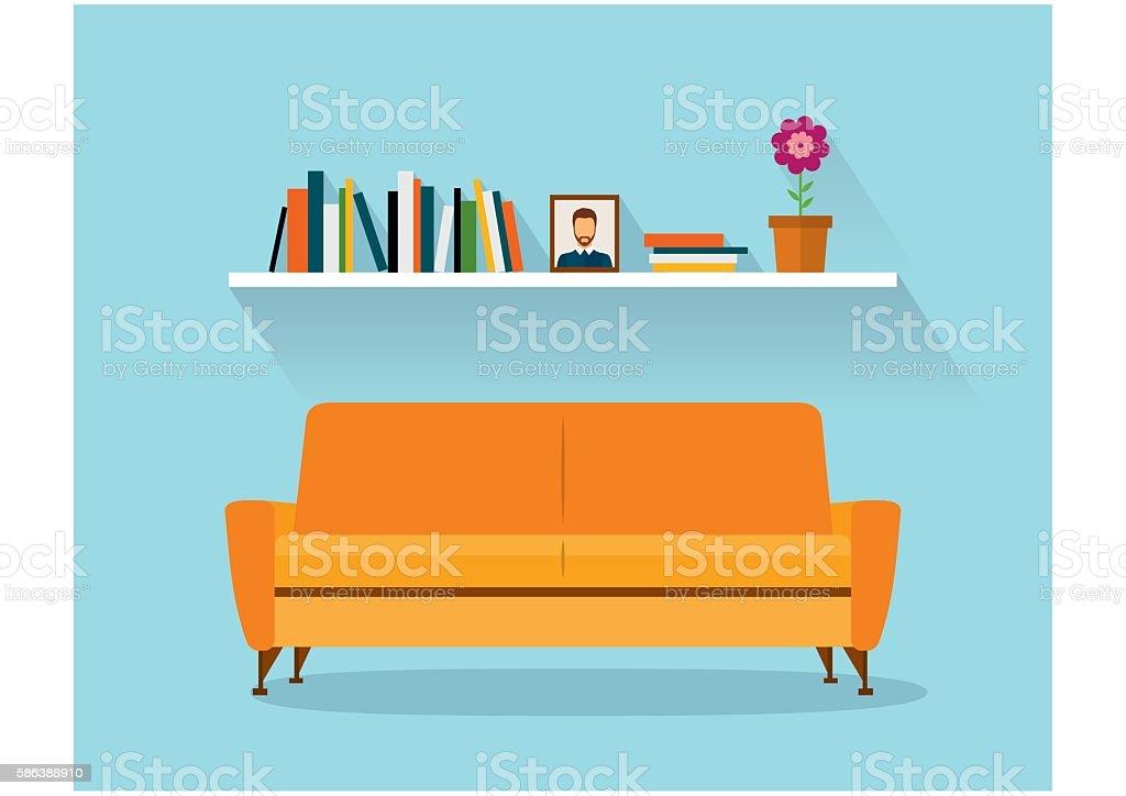 Marvelous Modern Design Interior Orange Sofa And Bookshelves. Retro Flat Style.  Vector Art Illustration
