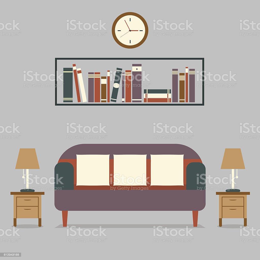 Bücherregal Modern moderne design interior sofa und bücherregal stock vektor und