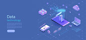 Modern design isometric concept business.smartphone on blue background and infographic elements. 3d isometric flat design. Vector illustration.