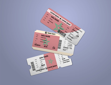 Modern design of Morocco airline, bus and train travel boarding pass. Three tickets of Morocco painted in flag color. Vector illustration isolated