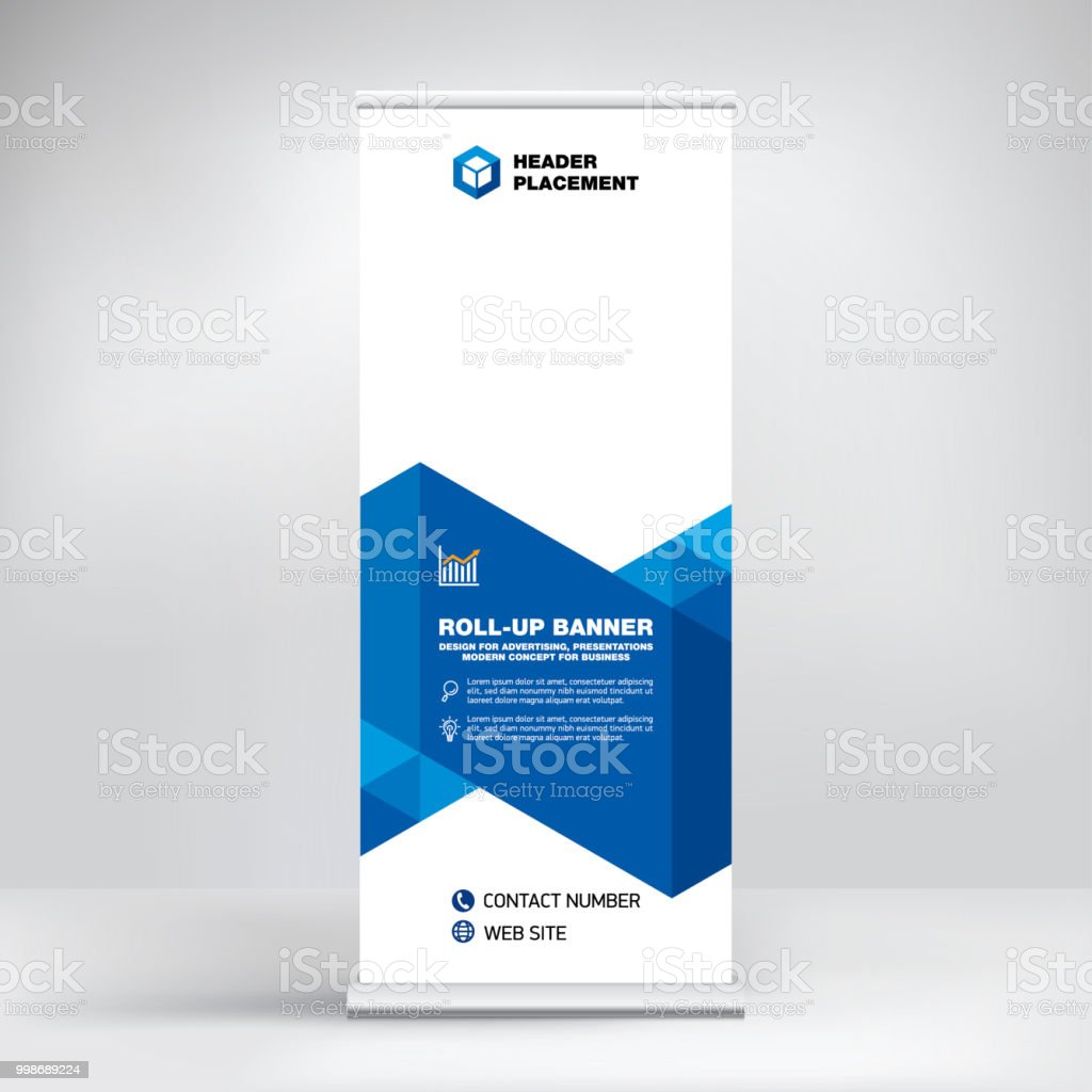 Modern design of roll-up advertising stand, banner template for the exhibition, creative geometric background for photo and text placement. vector art illustration