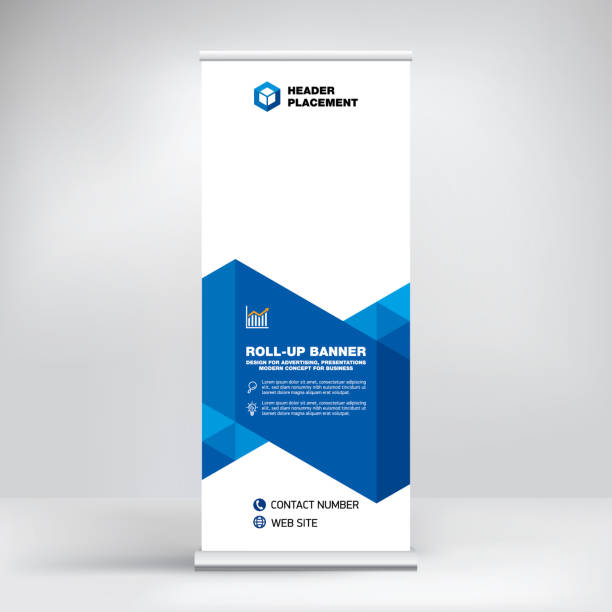 modern design of roll-up advertising stand, banner template for the exhibition, creative geometric background for photo and text placement. - blue drawings stock illustrations