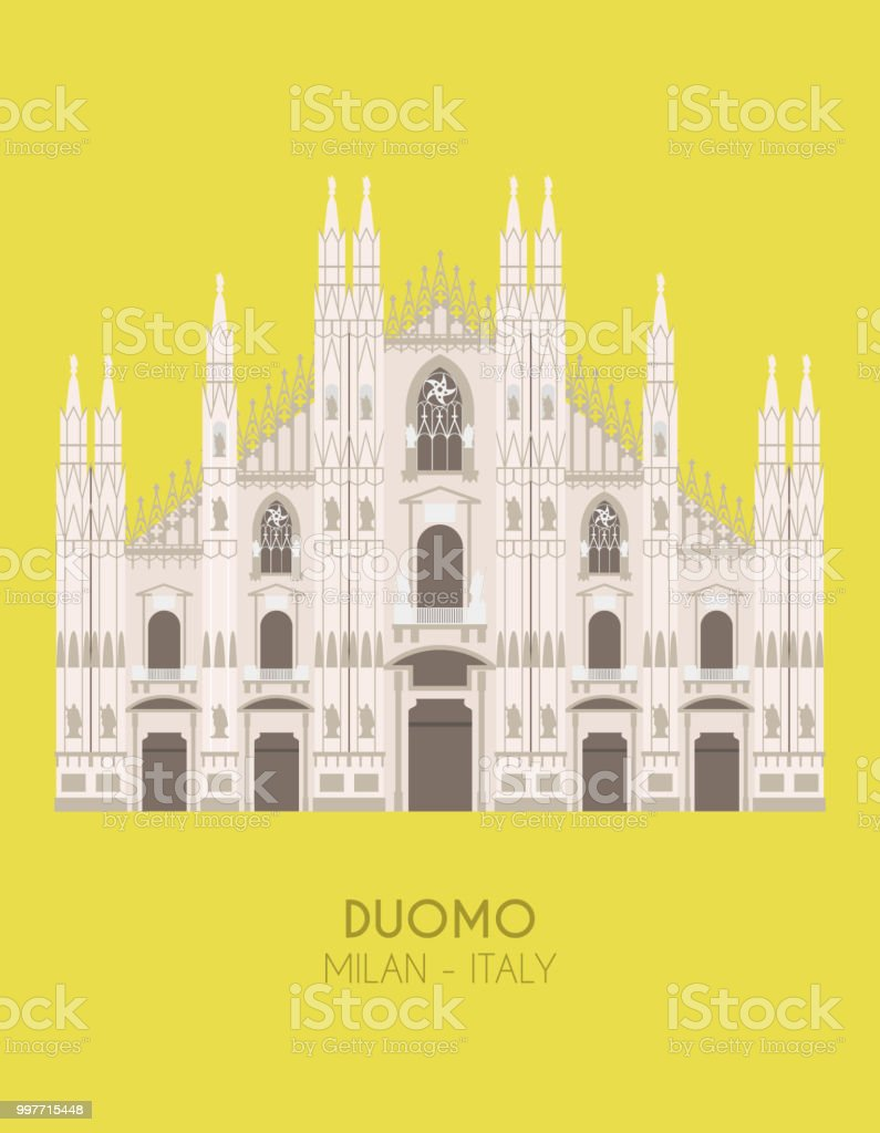 Modern design poster with colorful background of Milan Cathedral (Milan, Italy). Vector illustration
