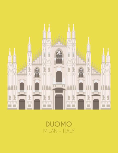 illustrazioni stock, clip art, cartoni animati e icone di tendenza di modern design poster with colorful background of milan cathedral (milan, italy). vector illustration - milan
