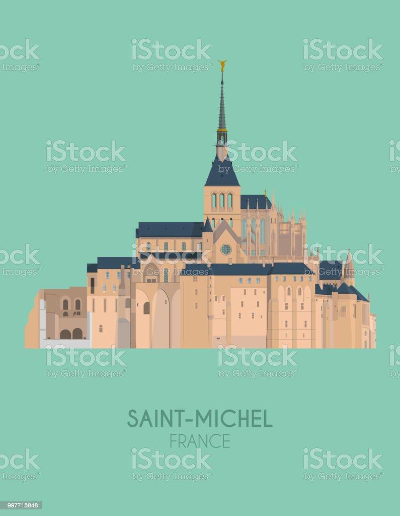 Modern design poster with colorful background of Mount Saint-Michel (France). Vector illustration