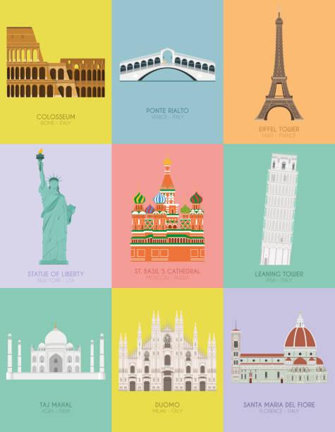 illustrazioni stock, clip art, cartoni animati e icone di tendenza di modern design poster with colorful background of nine important monuments of the world vector illustration - firenze