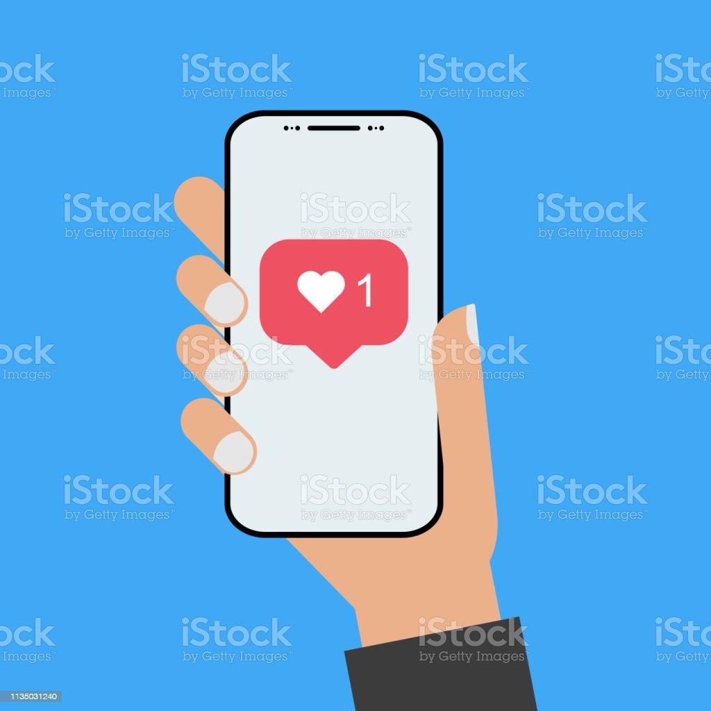 Modern design style hand holding the smartphone with new like screen - Grafika wektorowa royalty-free (Aplikacja mobilna)