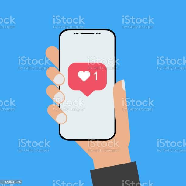 Modern Design Style Hand Holding The Smartphone With New Like Screen - Stockowe grafiki wektorowe i więcej obrazów Aplikacja mobilna