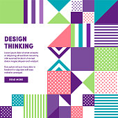 Modern and minimalistic design thinking web banner design to boost social network postings, business presentations, template slides or background designs.
