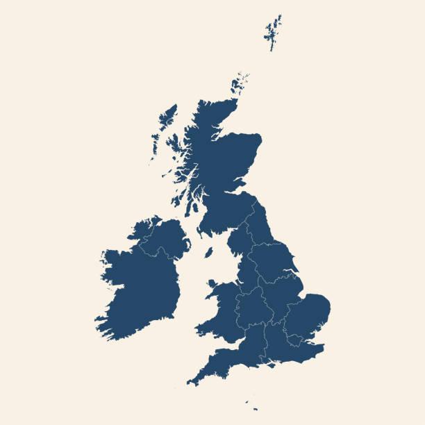 ilustrações, clipart, desenhos animados e ícones de design moderno reino unido detalhado mapa político. - reino unido