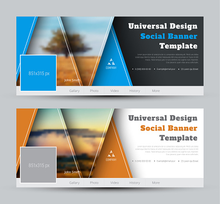 Modern Design vector black and white banners for social networks with triangles and a place for photo and text.