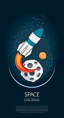 Modern design vector illustration with rocket Launch. universe exploration and