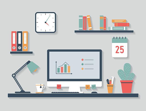 moderne computer, flat-design - schreibtisch stock-grafiken, -clipart, -cartoons und -symbole