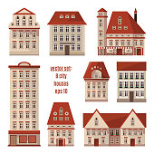 Modern detailed flat vector buildings collection. Set of Europe city houses