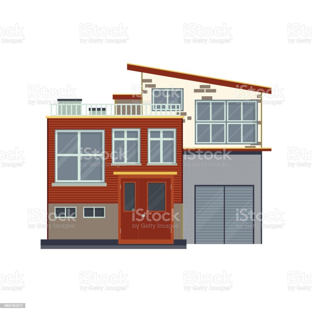 Moderne Häuser Oder Villen Front Detailansicht Zeitgenössische Real ...