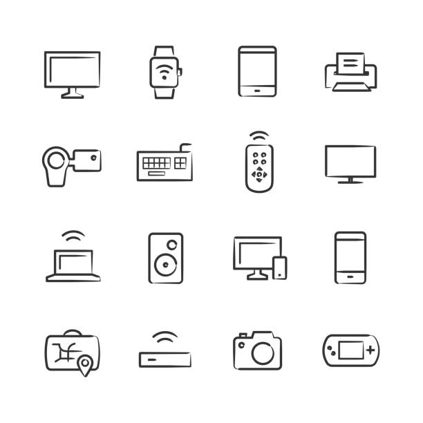 Modern Device Icons — Sketchy Series vector art illustration