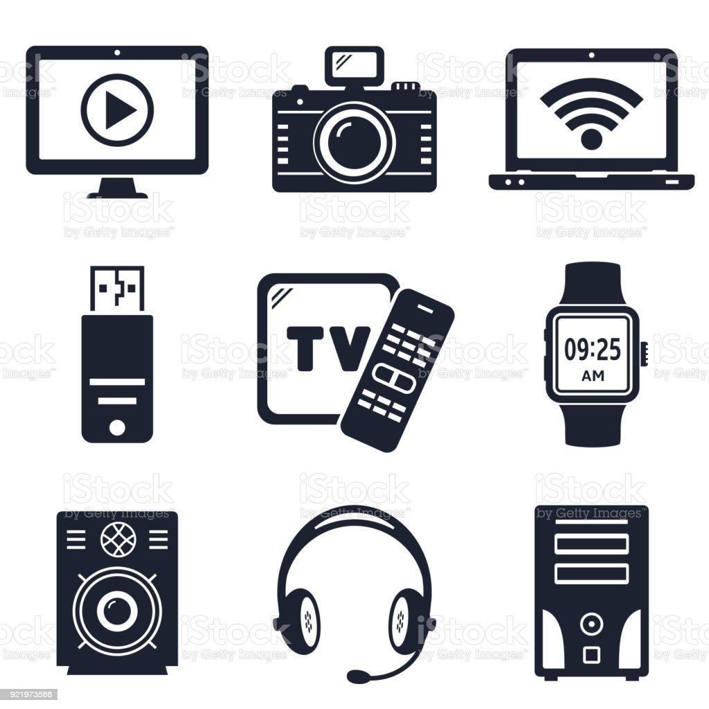 Moderne Geräte Und Elektronische Geräte Symbole Stock Vektor Art und ...