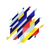 Modern diagonal abstract background geometric element. Blue,yellow and red diagonal lines & triangles.