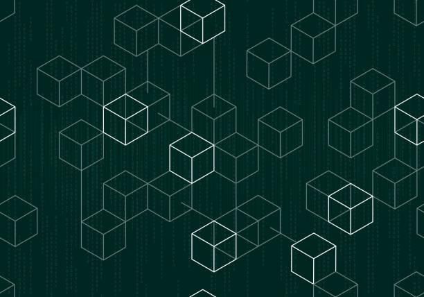 stockillustraties, clipart, cartoons en iconen met moderne digitale blockchain patroon met binaire gegevens, op donkere groene achtergrond - blockchain