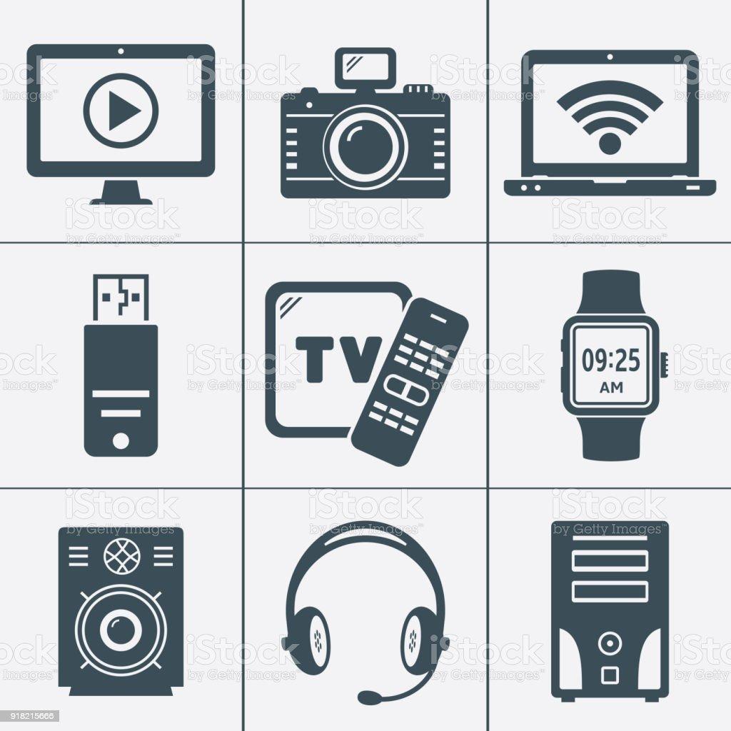 Moderne Digitale Geräte Und Elektronische Geräte Symbole Stock ...