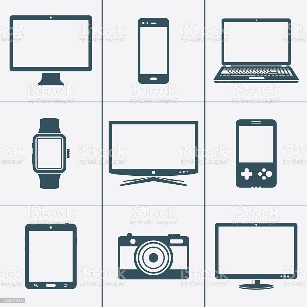 Modern digital devices icons set – Vektorgrafik